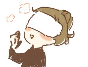 女の子(女性)が蒸しタオルを顔にあててるイラスト