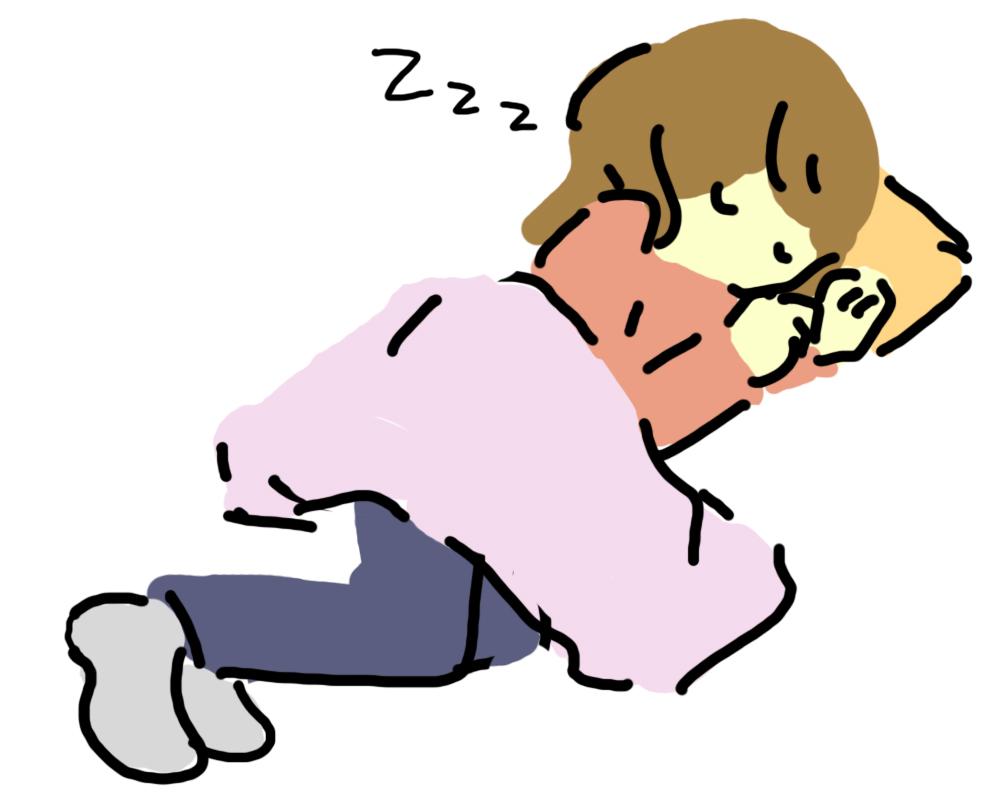 お昼寝をしている女の子のイラスト